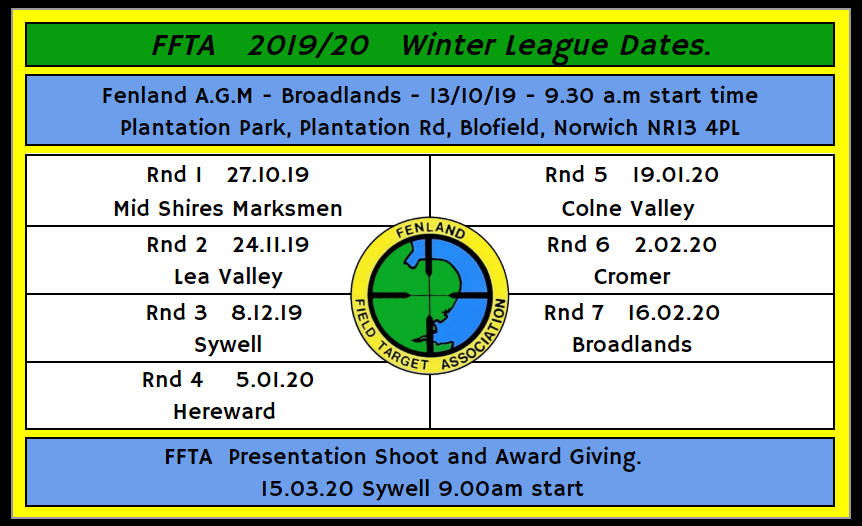 2019/20 FFTA Winter League Dates